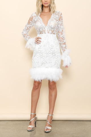 Amy Bell-Sleeve Lace Dress