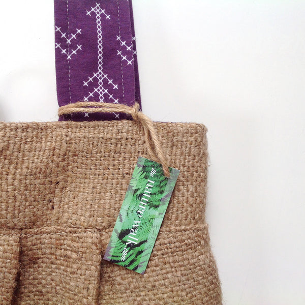 Upcycled Burlap Market Bag / Stitched Arrows