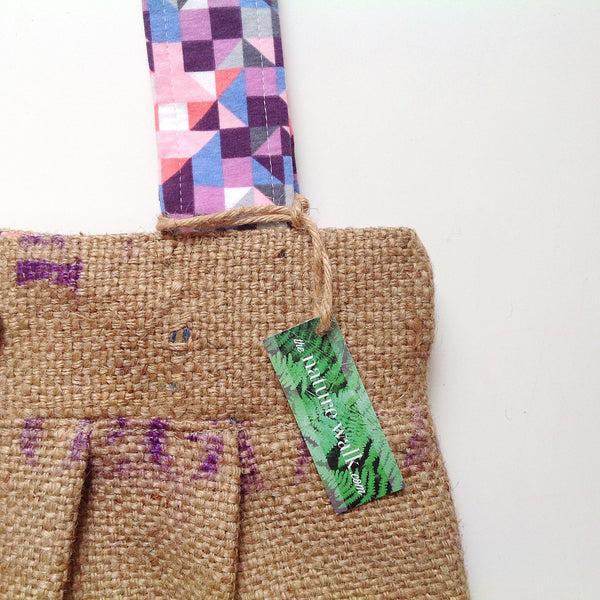 Upcycled Burlap Market Bag / Quilted Diamonds