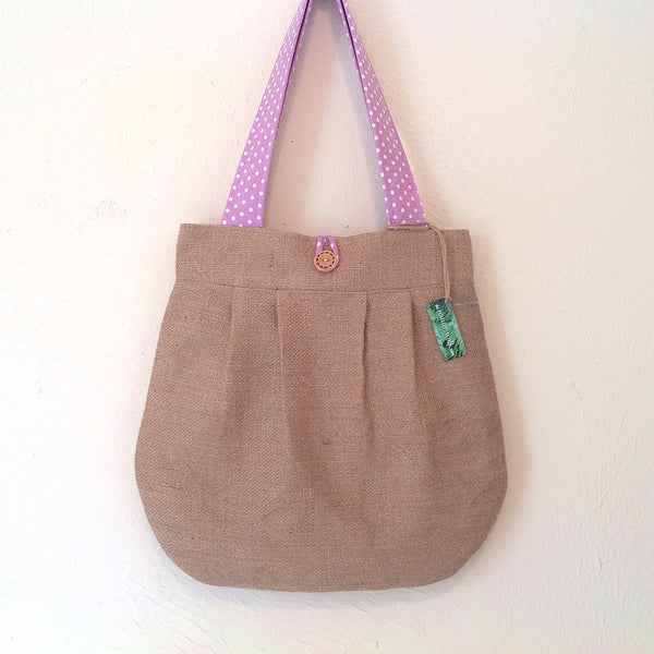Upcycled Burlap Market Bag / Lavender and White Dots