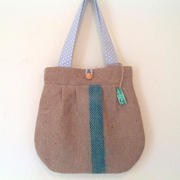 Upcycled Burlap Market Bag / Gray Dots