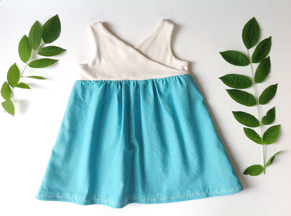 the Organic Garden Dress in Cream and Turquoise
