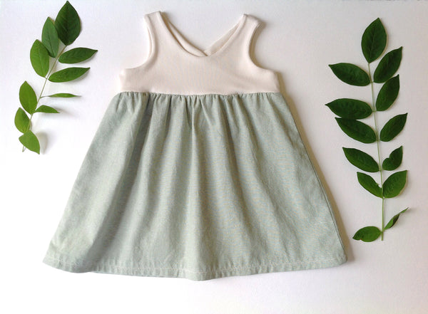 the Organic Garden Dress in Cream and Mint