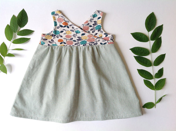 the Organic Garden Dress in Fresh Floral and Mint