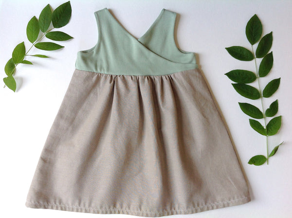 the Organic Garden Dress in Mint and Almond