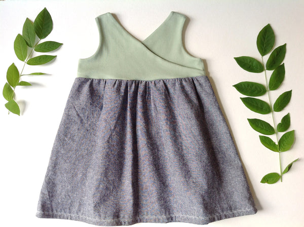 the Organic Garden Dress in Mint and Forget-Me-Not