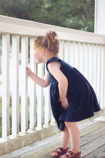 the Morningbird Dress in Navy