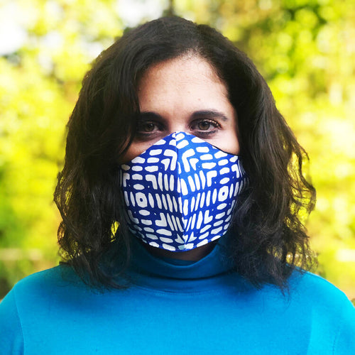 Cobalt Checkers Mask