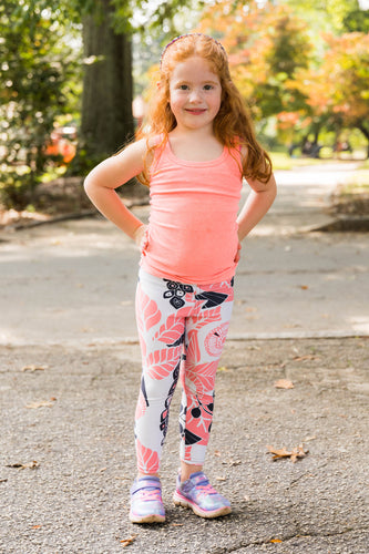 Coral Bloom Kids Leggings