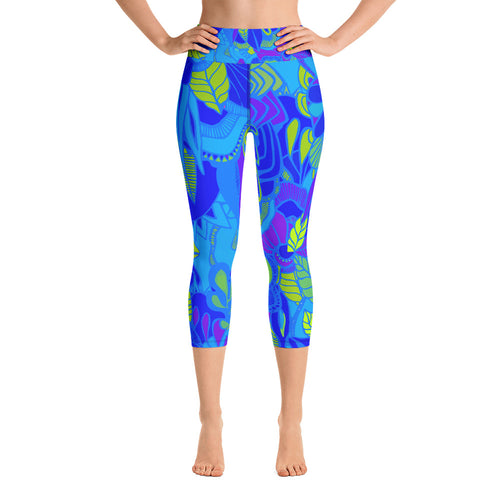 Blue Garden Capri Leggings