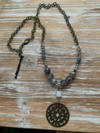 Scooples-Gray Marble Medallion Necklace