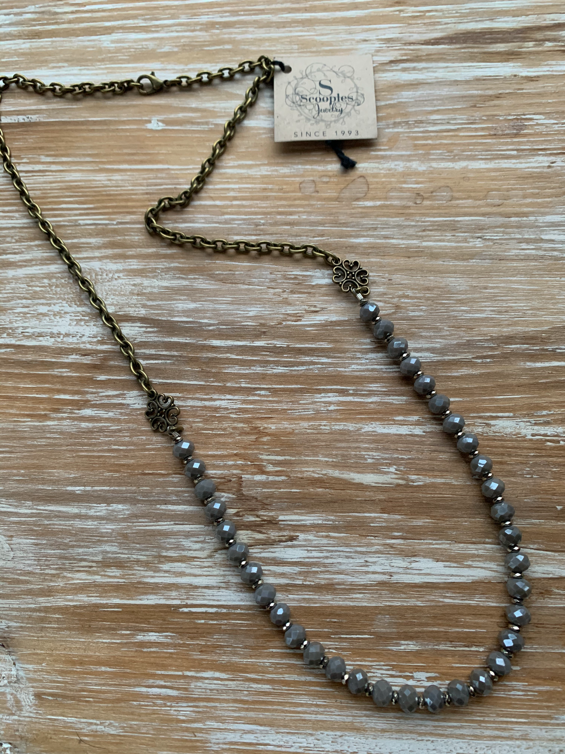 Scooples-Bronze Gray Smoke Necklace