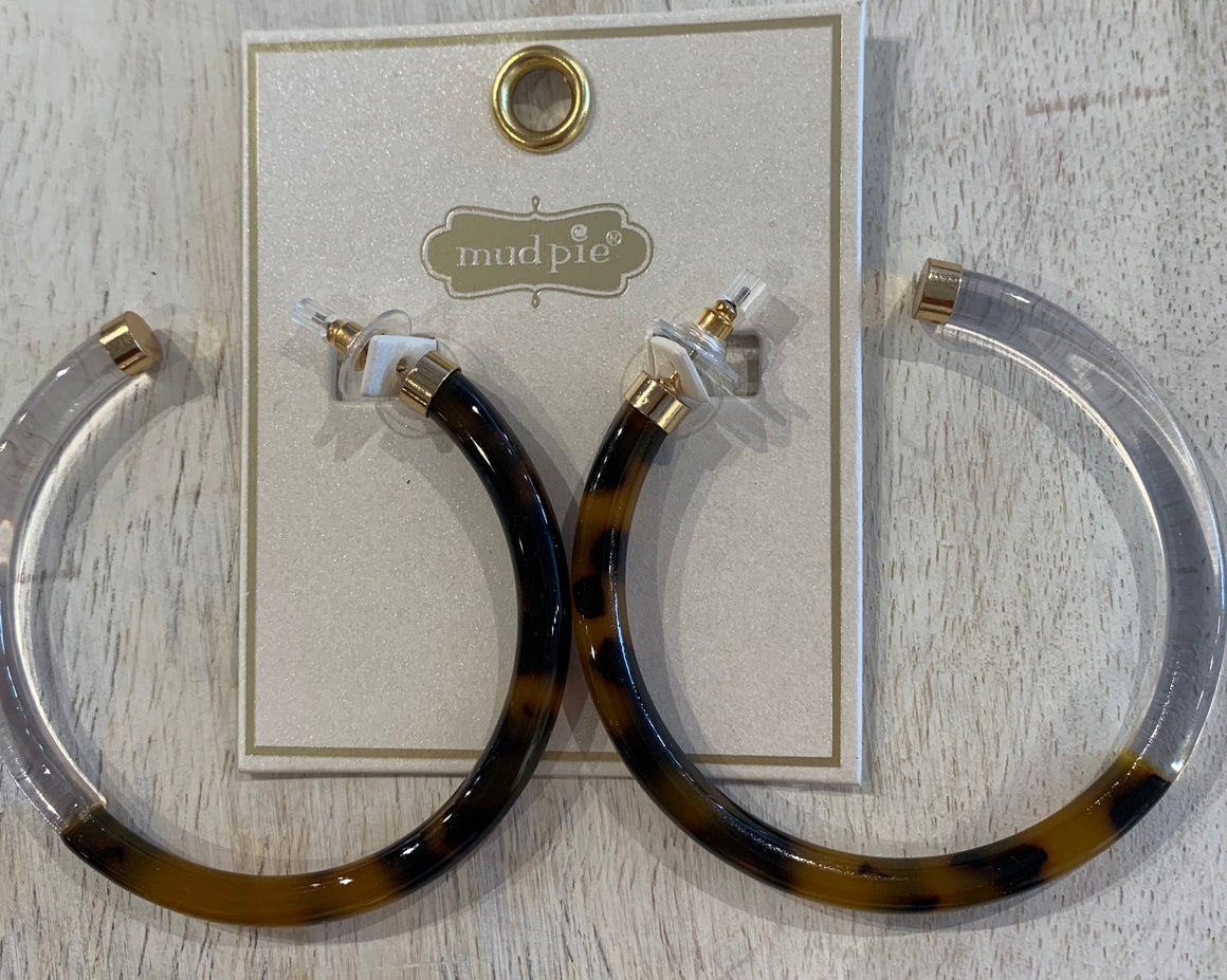 Resin Hoop Earrings-Cheetah