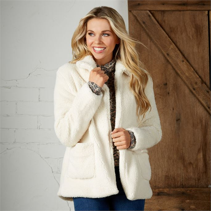 Carrington Teddy Jacket- Cream (Mud Pie)
