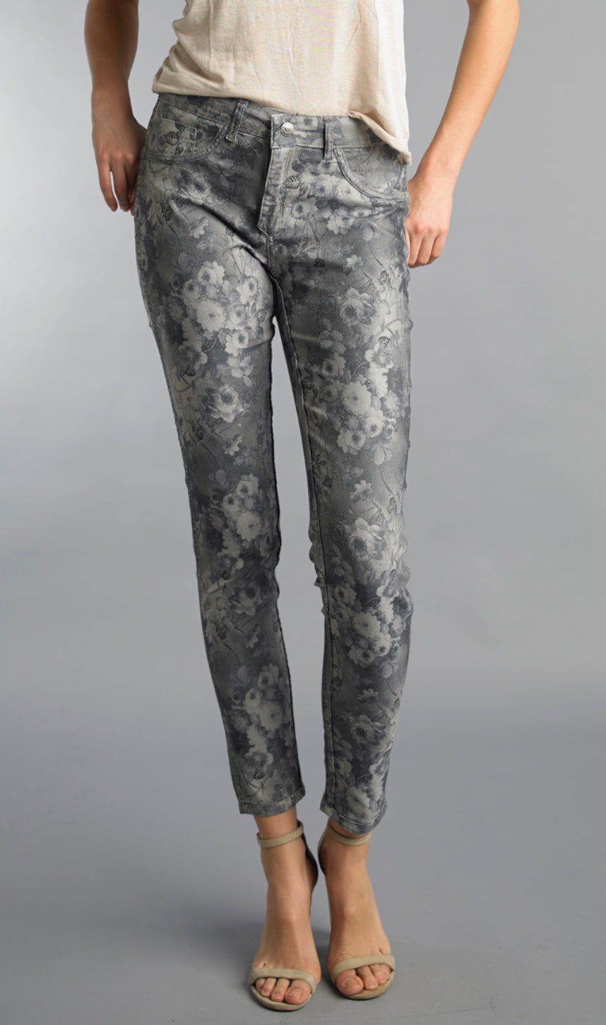 Tempo Paris Gray Floral Reversible Jeans