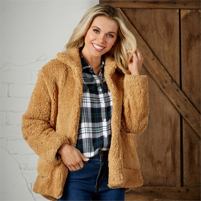 Carrington Teddy Jacket-Camel (Mud Pie)