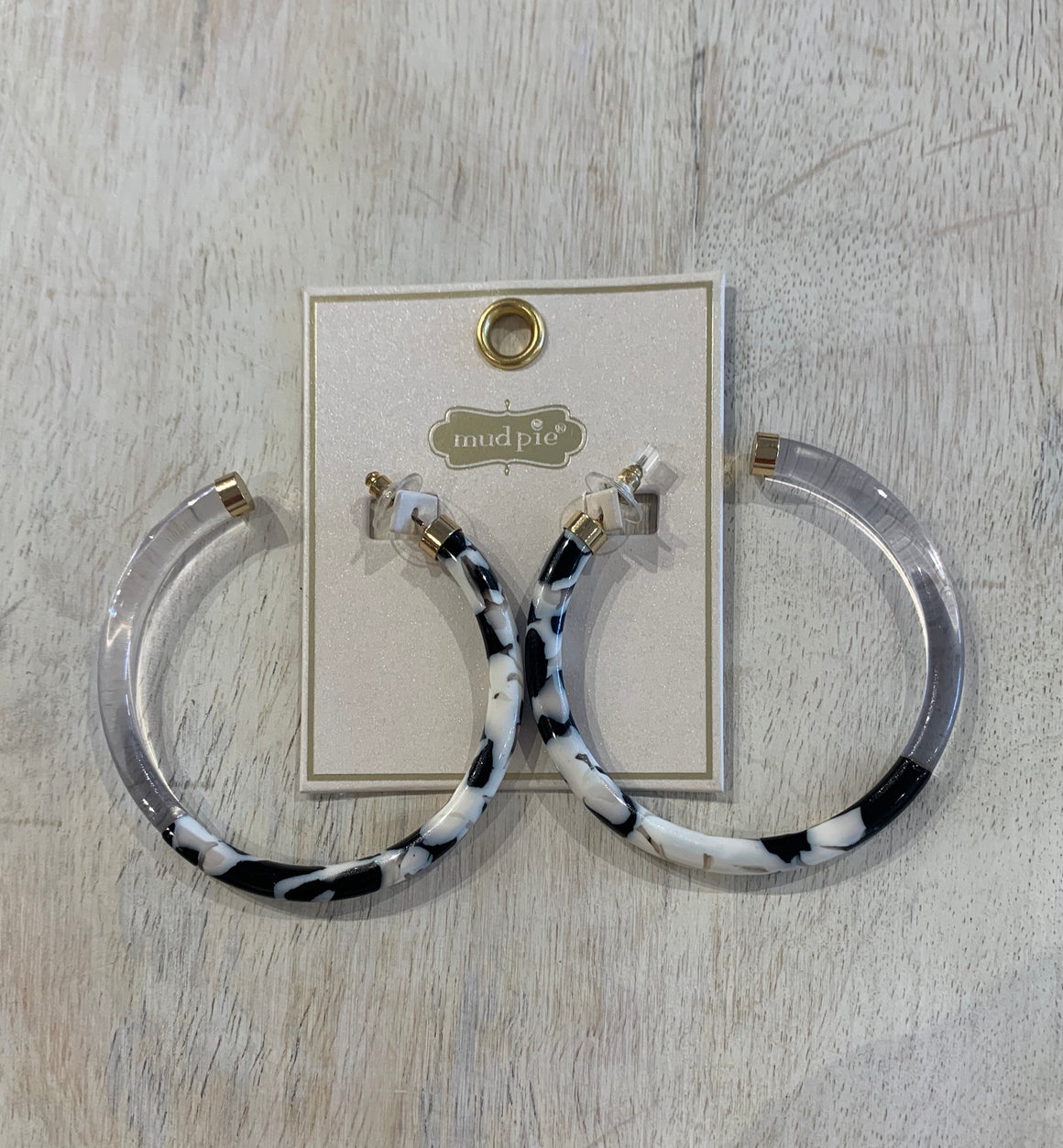 Resin Hoop Earrings-Dalmatian