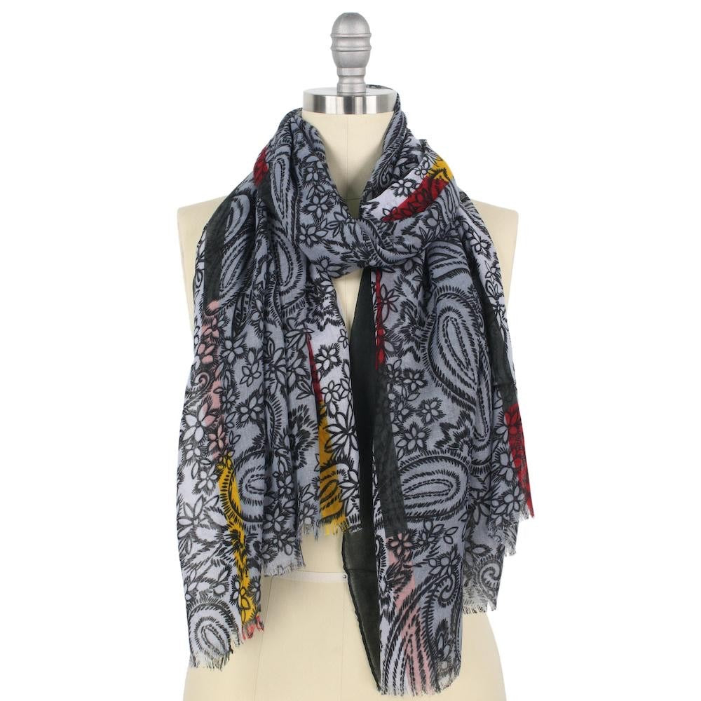 Gray, White, Red, and Yellow Floral Outline- Scarf
