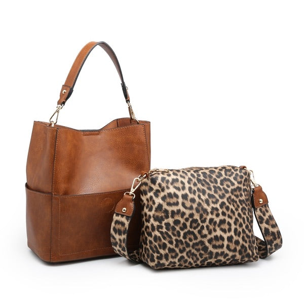 Abby 2 in 1 Bucket Bag w/ Animal Print Guitar Strap - Brown