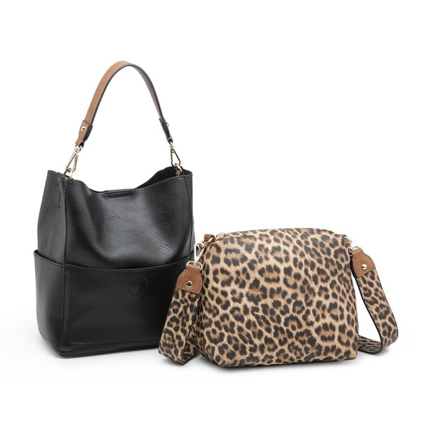 Abby 2 in 1 Bucket Bag w/ Animal Print Guitar Strap- Black