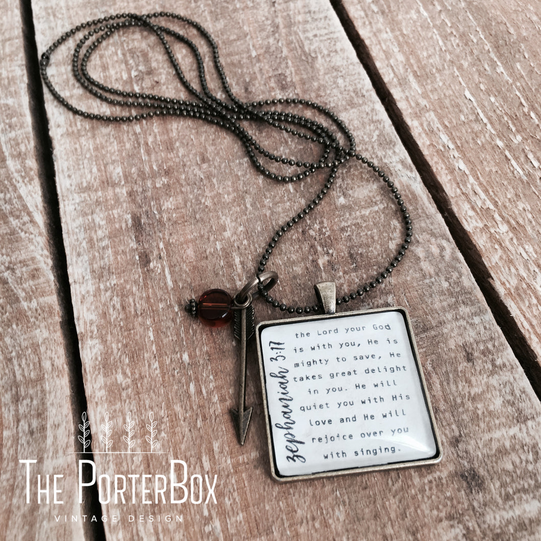 The Lord Your God is With You Necklace, Zephaniah 3:17