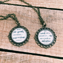 When She Speaks Mother Daughter Necklace Set