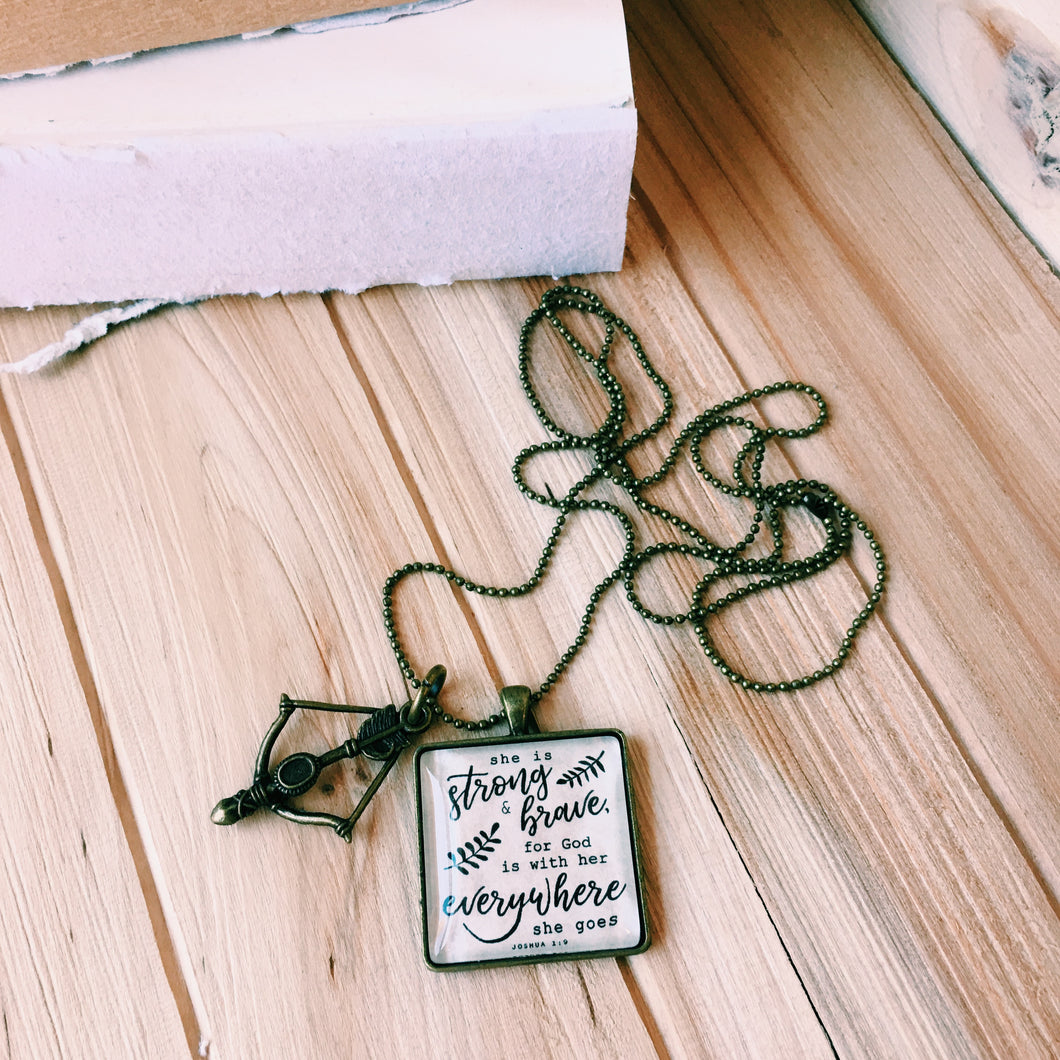 She Is Brave Necklace, Joshua 1:9 Necklace