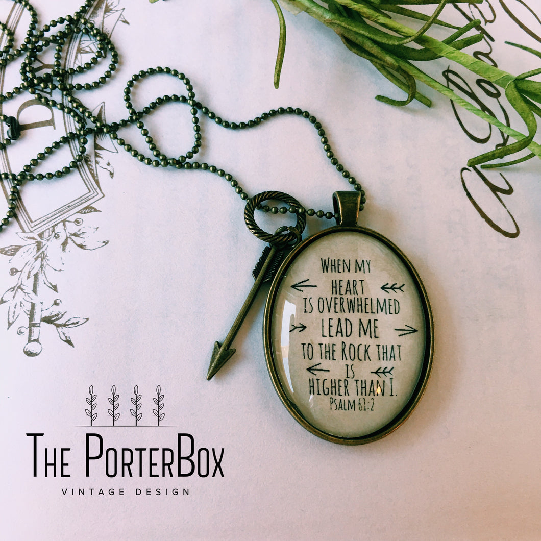 When My Heart is Overwhelmed Necklace, Psalm 61:2