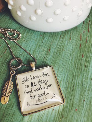 All Things Work Together for Good Necklace, Romans 8:28