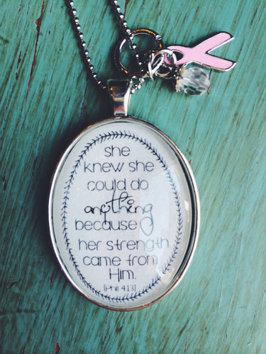 Breast Cancer, Philippians 4:13 Necklace