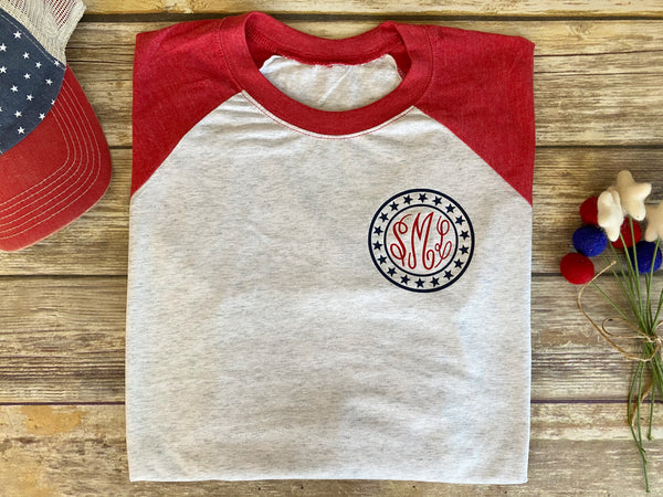 4th of July Raglan Monogrammed Shirt