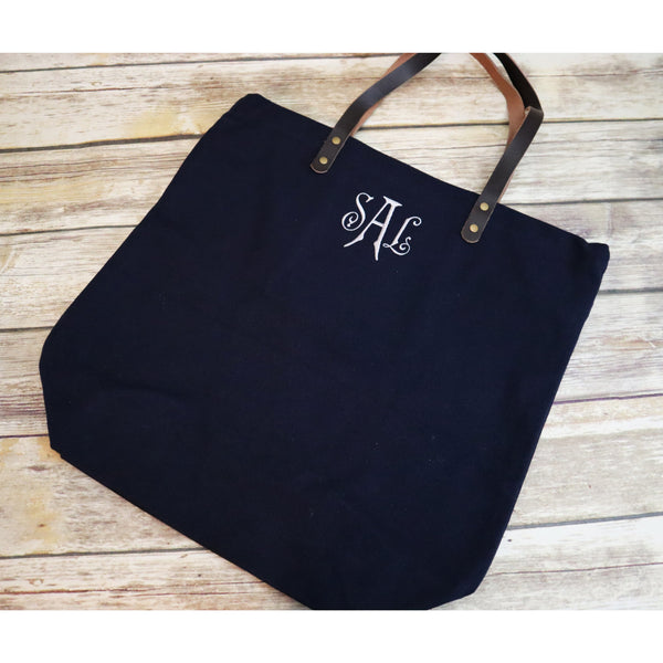 Monogrammed City Shopper Tote Bag-AlfonsoDesigns
