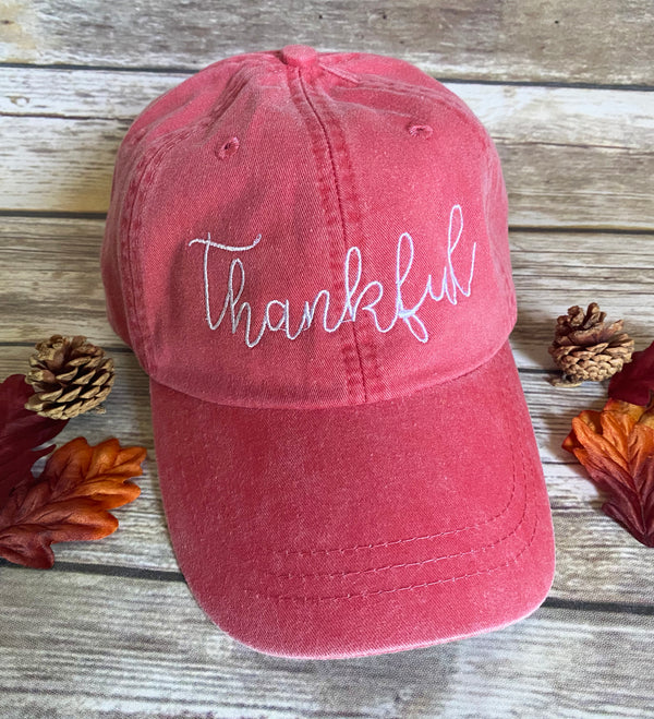 Thankful Handwriting Baseball Hat