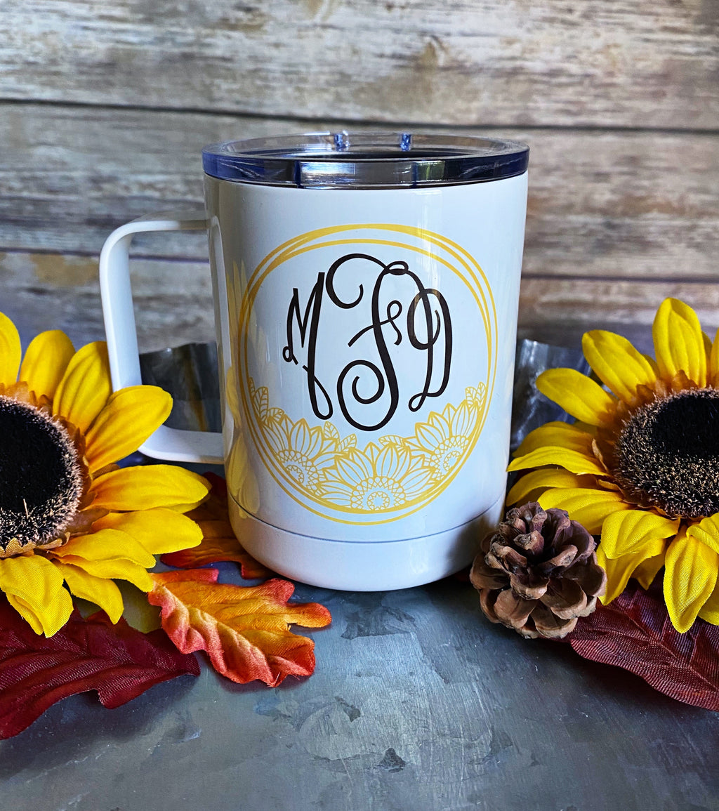Monogrammed Sunflower Stainless Steel Coffee Mug