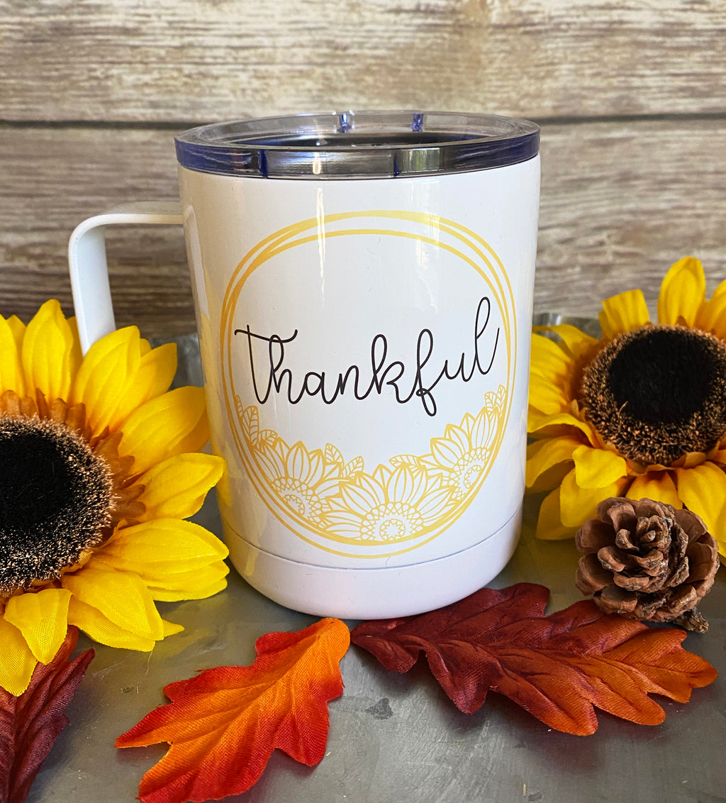 Thankful Sunflower Stainless Steel Coffee Mug