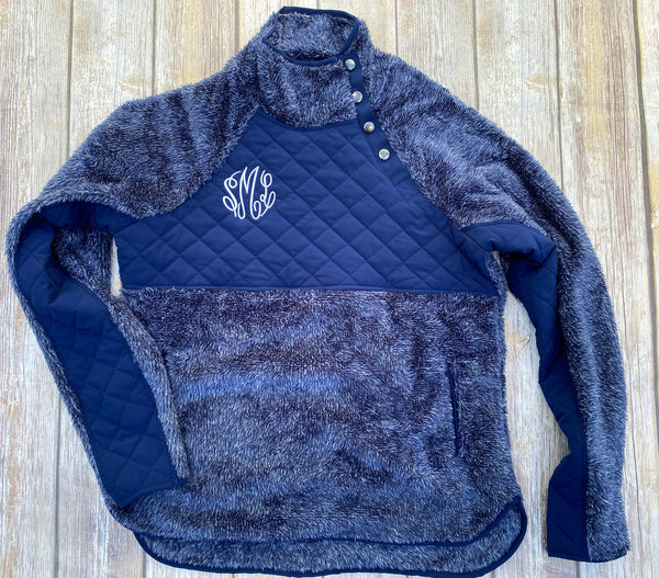 Monogrammed Quilted Fuzzy Pullover
