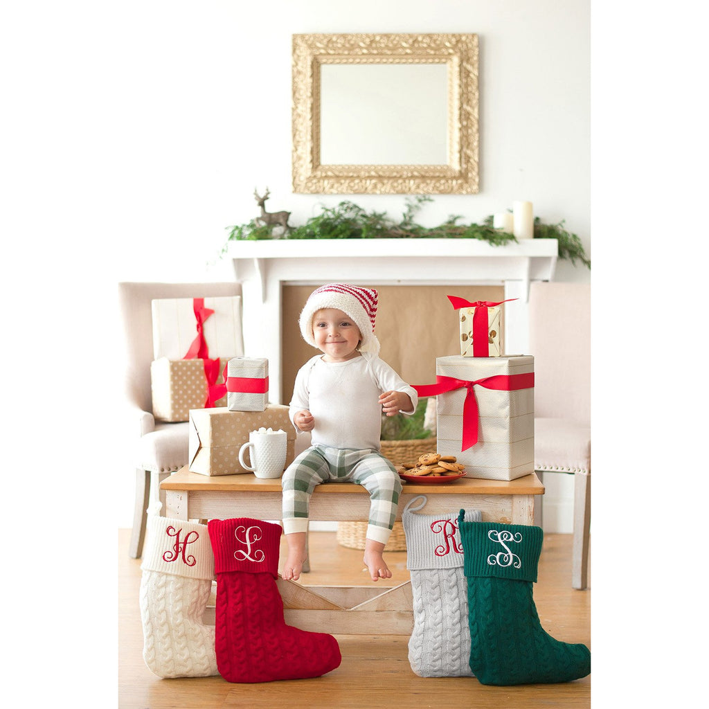 Personalized Cable Knit Christmas Stockings-AlfonsoDesigns