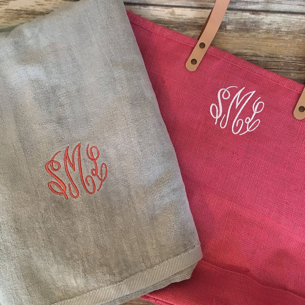 Monogrammed Beach Bag & Towel Set
