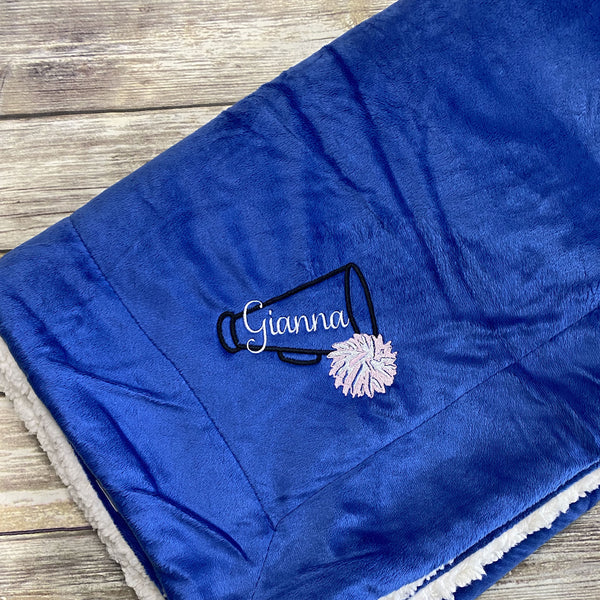 Personalized Cheerleader Mink Sherpa Blanket