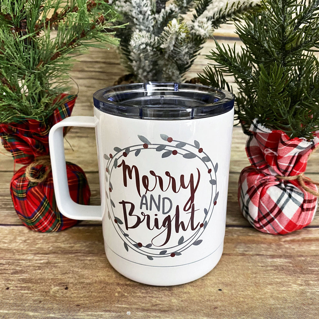 Merry & Bright Christmas Stainless Steel Coffee Mug