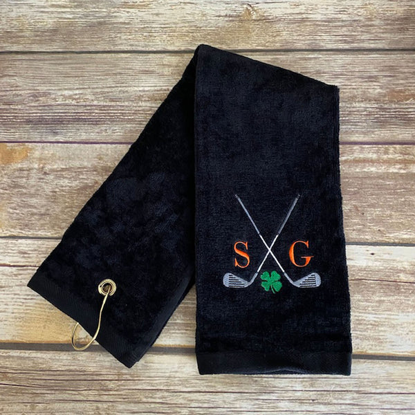 Personalized Shamrock Golf Towel