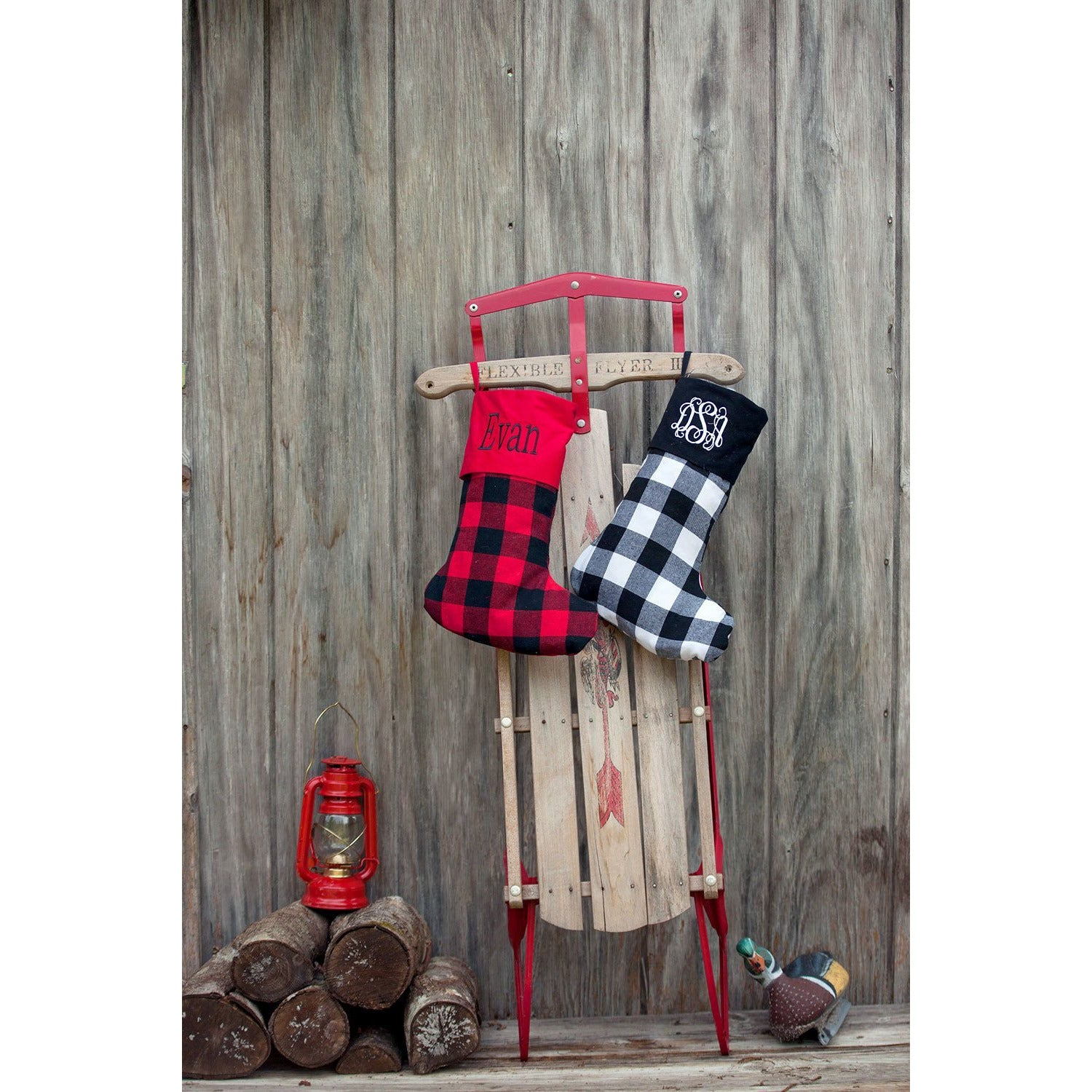 buffalo plaid christmas stockings alfonsodesigns - Plaid Christmas Stockings