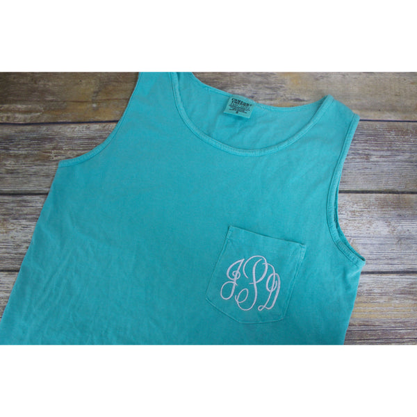 Monogrammed Comfort Colors Pocket Tank Top-AlfonsoDesigns