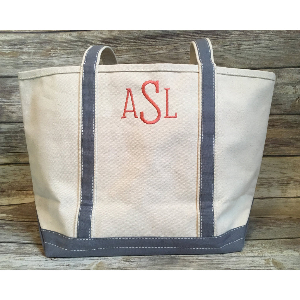 Monogrammed Canvas Boat Tote-AlfonsoDesigns