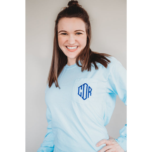 Monogrammed Comfort Colors Long Sleeve Pocket Tee-AlfonsoDesigns