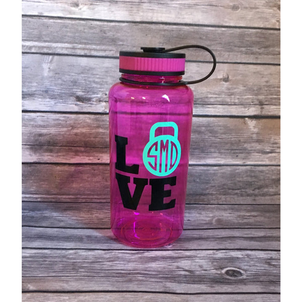 Monogrammed Kettlebell Water Bottle-AlfonsoDesigns