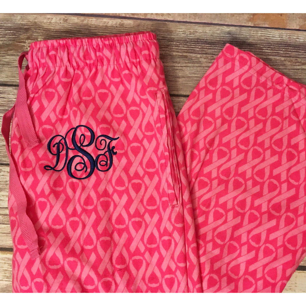 Monogrammed Pink Awareness Ribbon Pajama Pants-AlfonsoDesigns