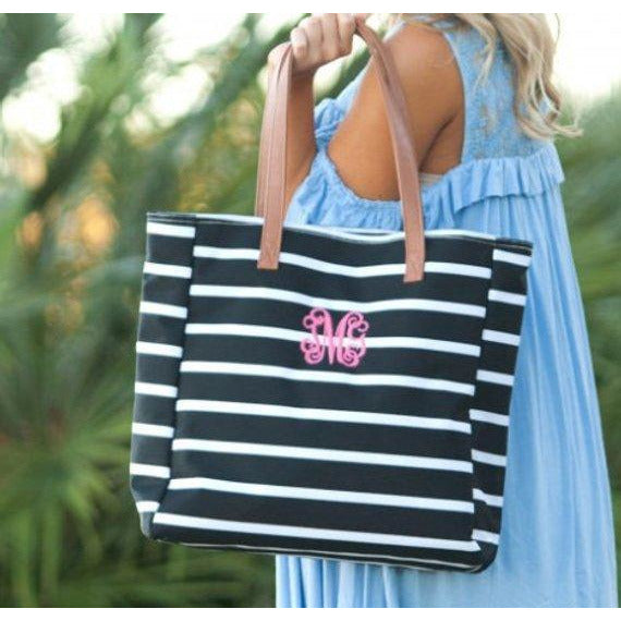Monogrammed Striped Tote Bag-AlfonsoDesigns