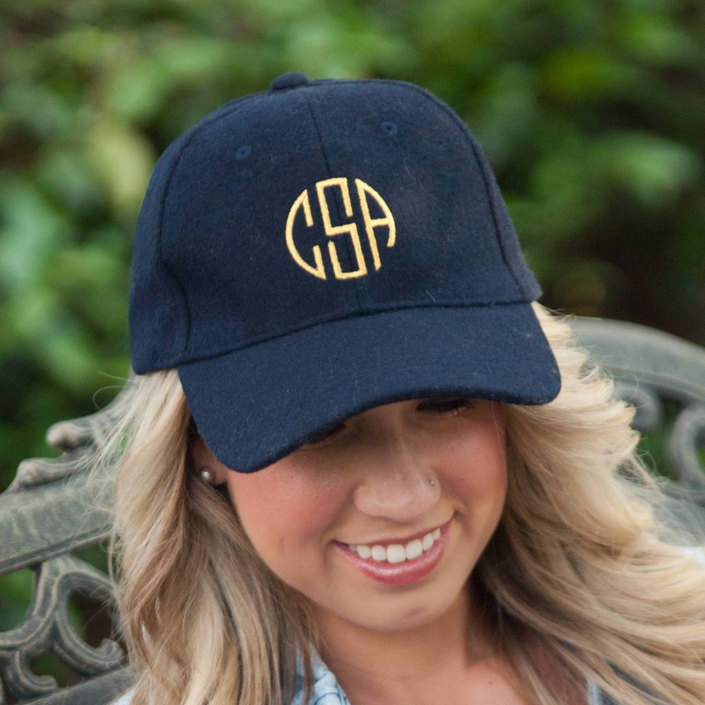 Monogrammed Wool Baseball Hat-AlfonsoDesigns