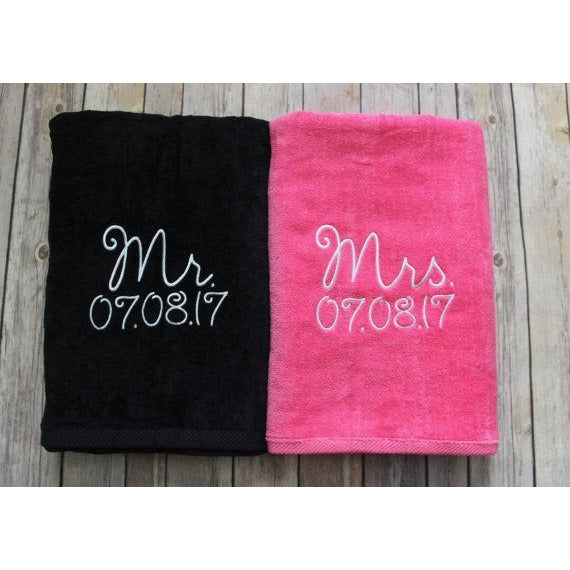 Mr & Mrs Black and Pink Beach Towel-AlfonsoDesigns